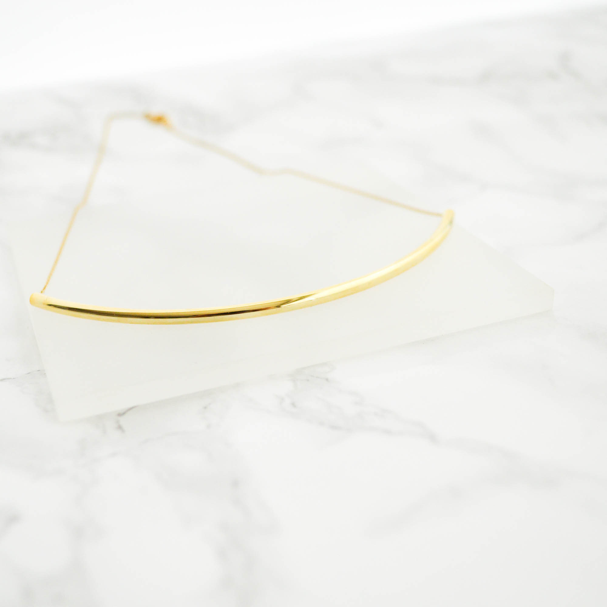 Simple Curve Line Necklace(gold)