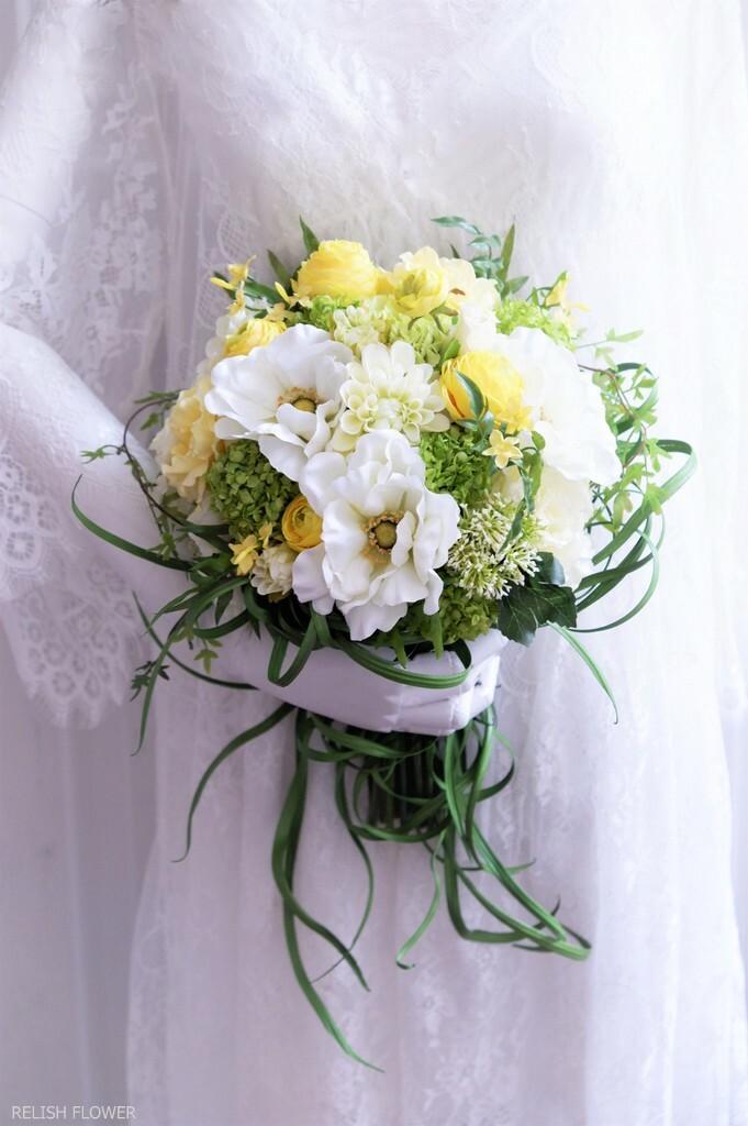 【 オーダーメイド・Eタイプ 】クラッチブーケ ・フリースタイル 。アーティフィシャルフラワー造花のウェディングブーケ