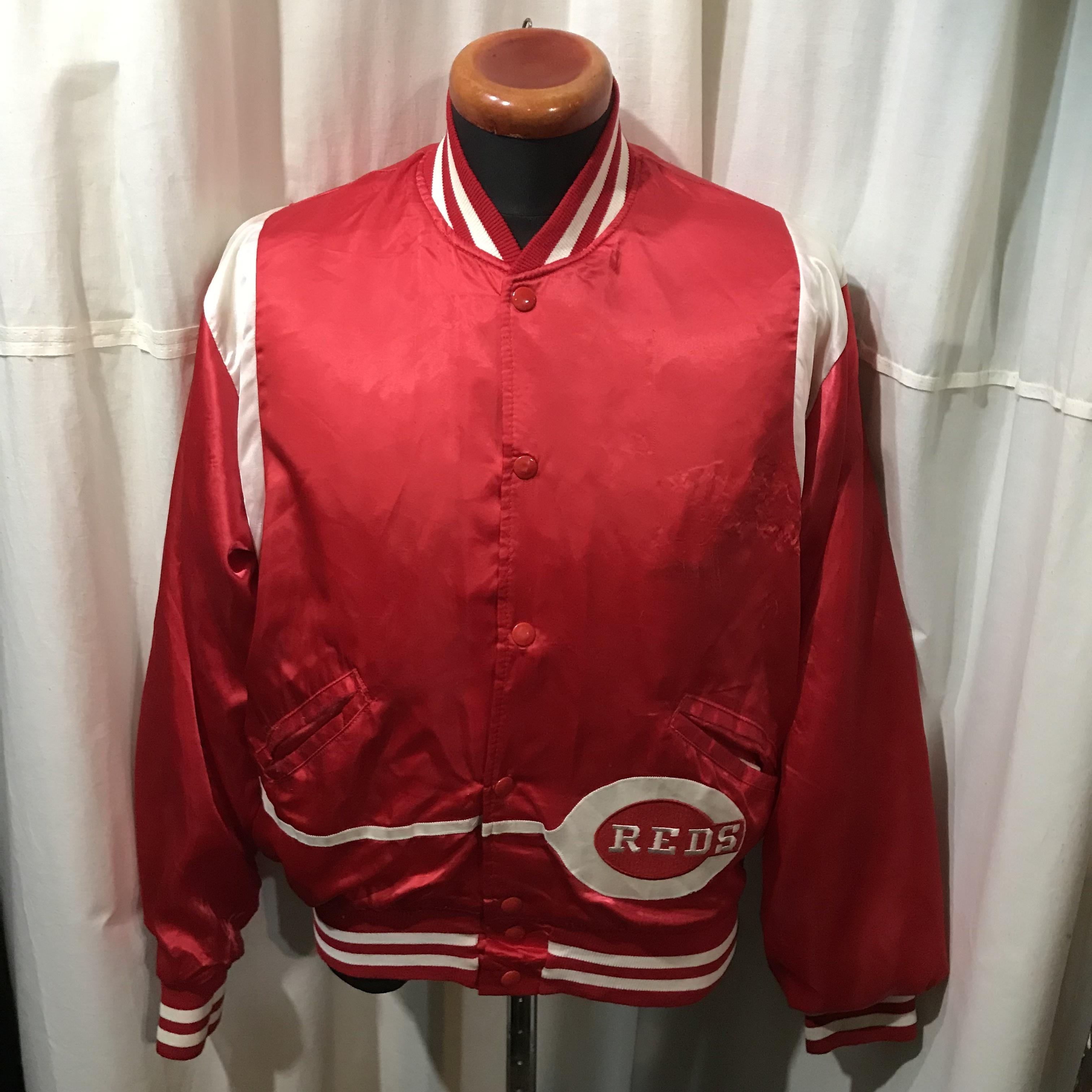~80's old アメリカ製 MLB オフィシャル REDS ナイロンスタジャン メンズL