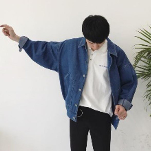zaia 041tk1k 大人気 ビックシルエット デニムジャケット【ダークブルー M】