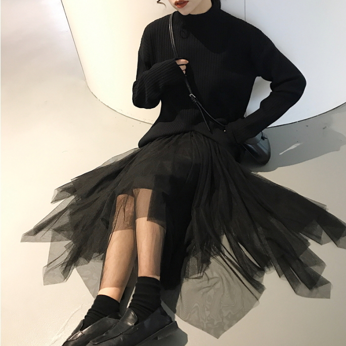 ブラック チュールスカート イレギュラーヘム