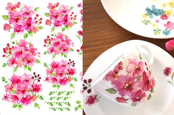 水彩ソフトフラワー ピンク A3サイズ (ポーセリンアート用転写紙 花柄)