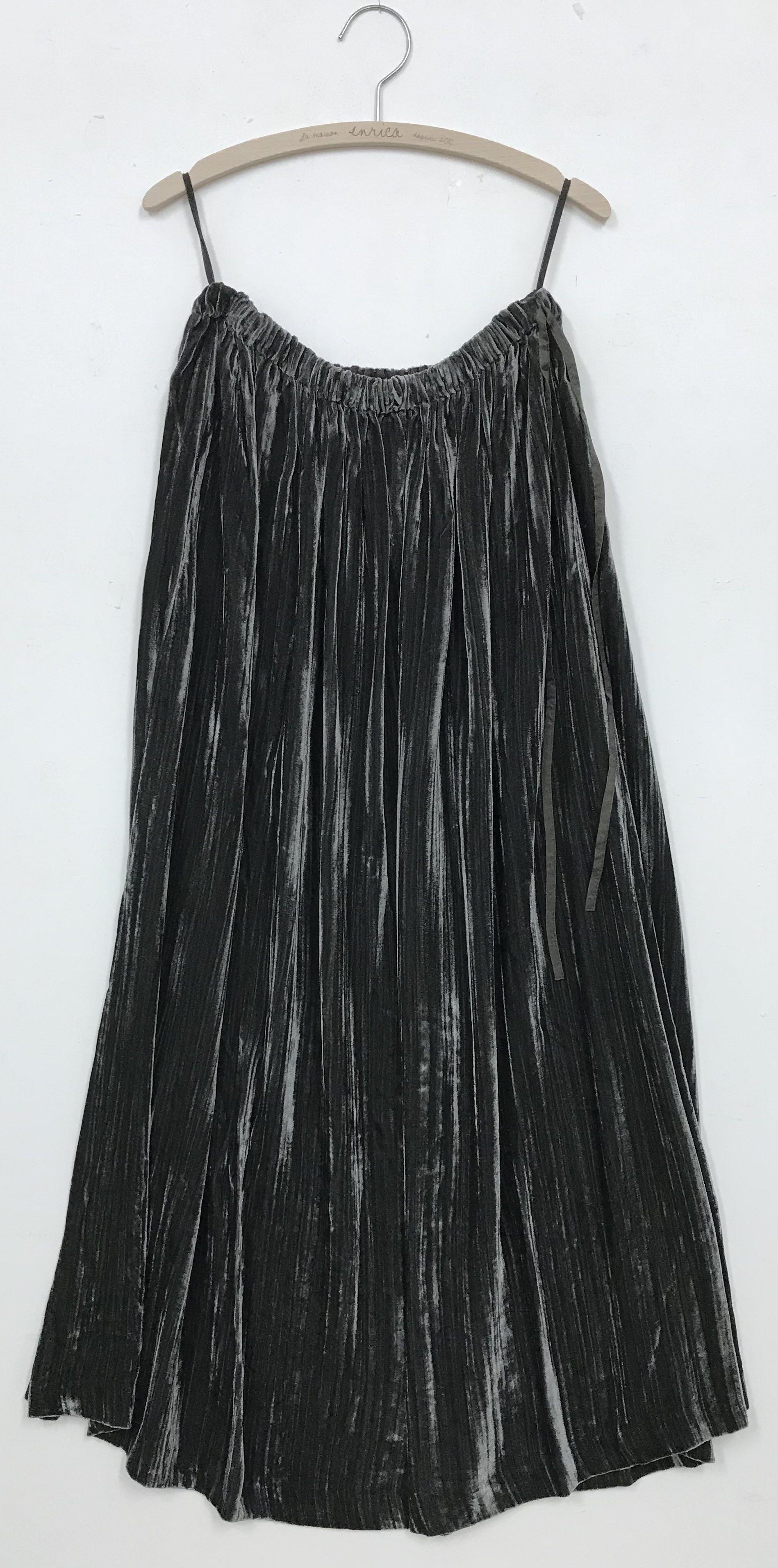 ベルベットロングスカート GREY-BROWN(製品洗い)