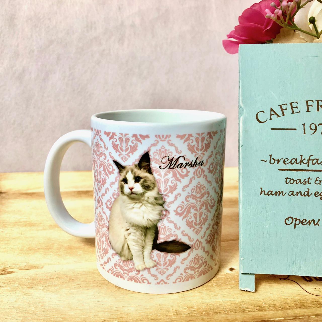 """オーダーメイドのうちの子の写真で作るマグカップ""""Victorian""""ピンク"""