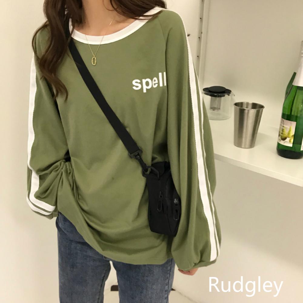 《エマチャンネルさん着用アイテム》カジュアルなルーズワイルドネックネックの長袖プリントTシャツ