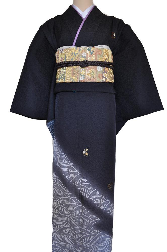 ワイドサイズ(トール&ワイド)■訪問着レンタル■濃いグレー裾ぼかしhuwide7〔往復送料無料〕 - 画像5