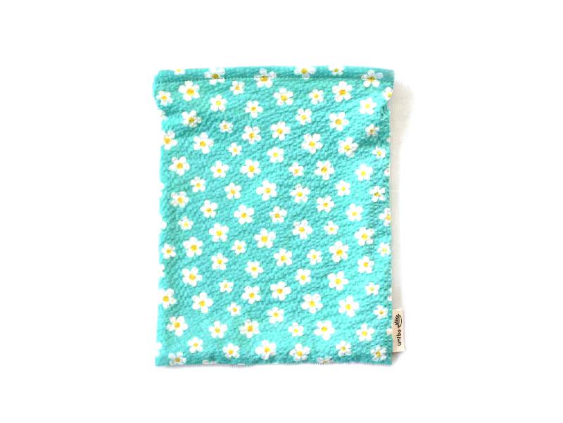 ハリネズミ用寝袋 M(夏用) 綿リップル×スムースニット フラワー ブルー【販売終了】