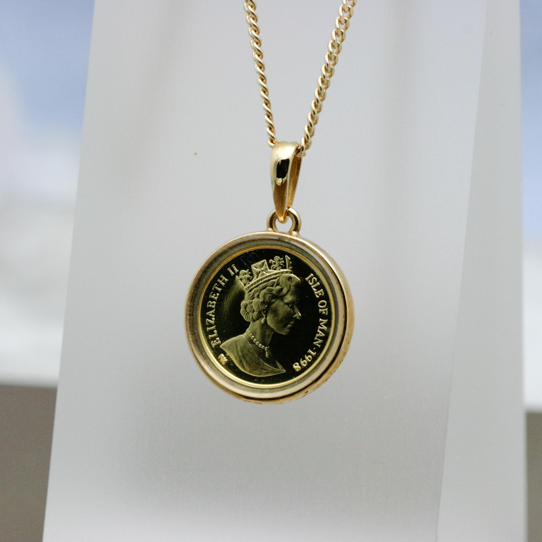 K18コイン(コインはk24)ペンダントネックレス付き