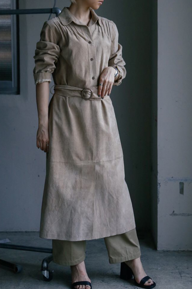 Vintage Beige Leather Dress