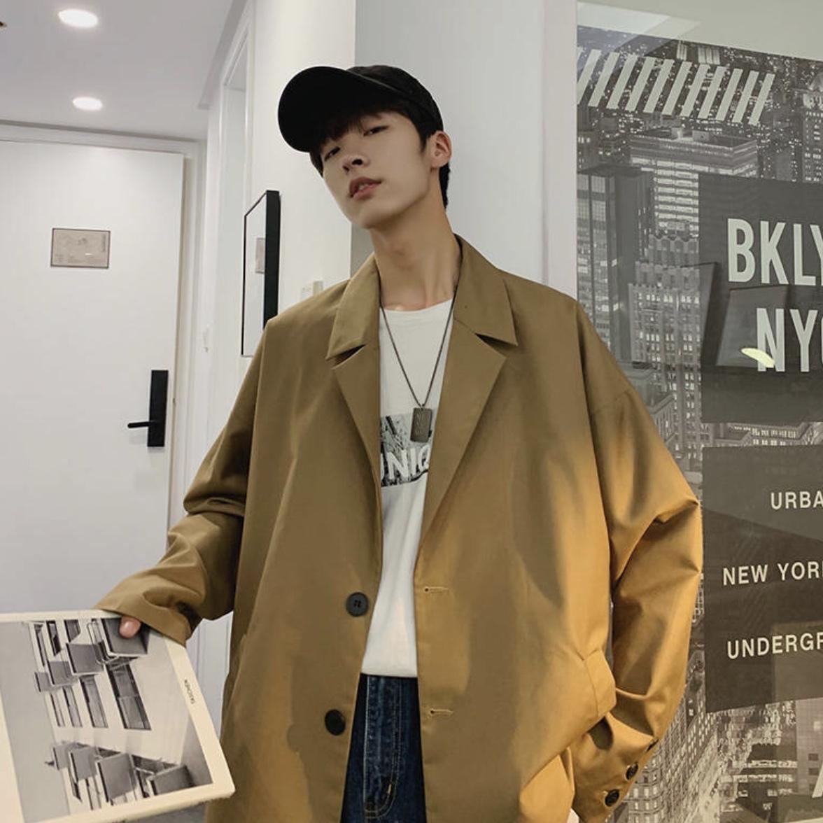 オーバーサイズ カジュアルルーズジャケット 秋服 韓国風