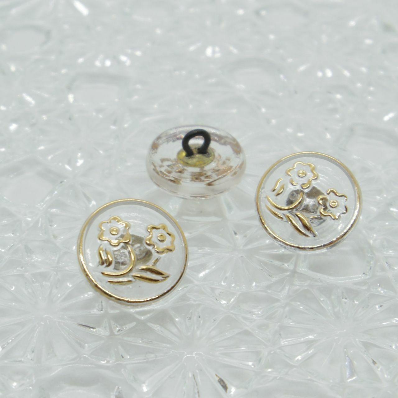 【チェコガラスボタン】2輪の花・クリア ::: 特小1.4cm