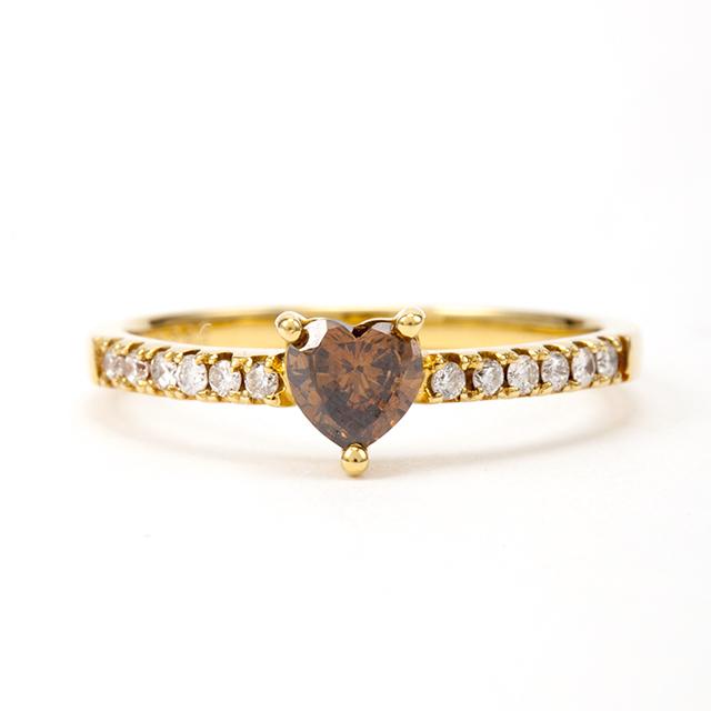 ハートシェイプカット ブラウンダイヤモンド リング 0.282ct K18イエローゴールド チェカ