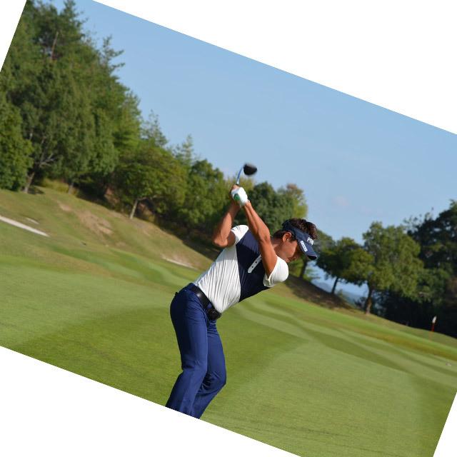 ゴルフプロ監修 配色斜めライン半袖シャツ【日本製】紺×白