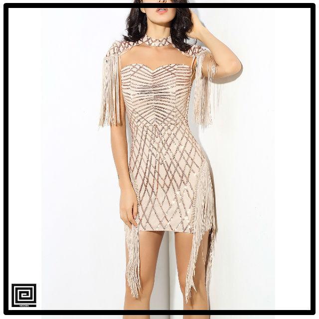 ゴールドスパンコールメッシュドレス