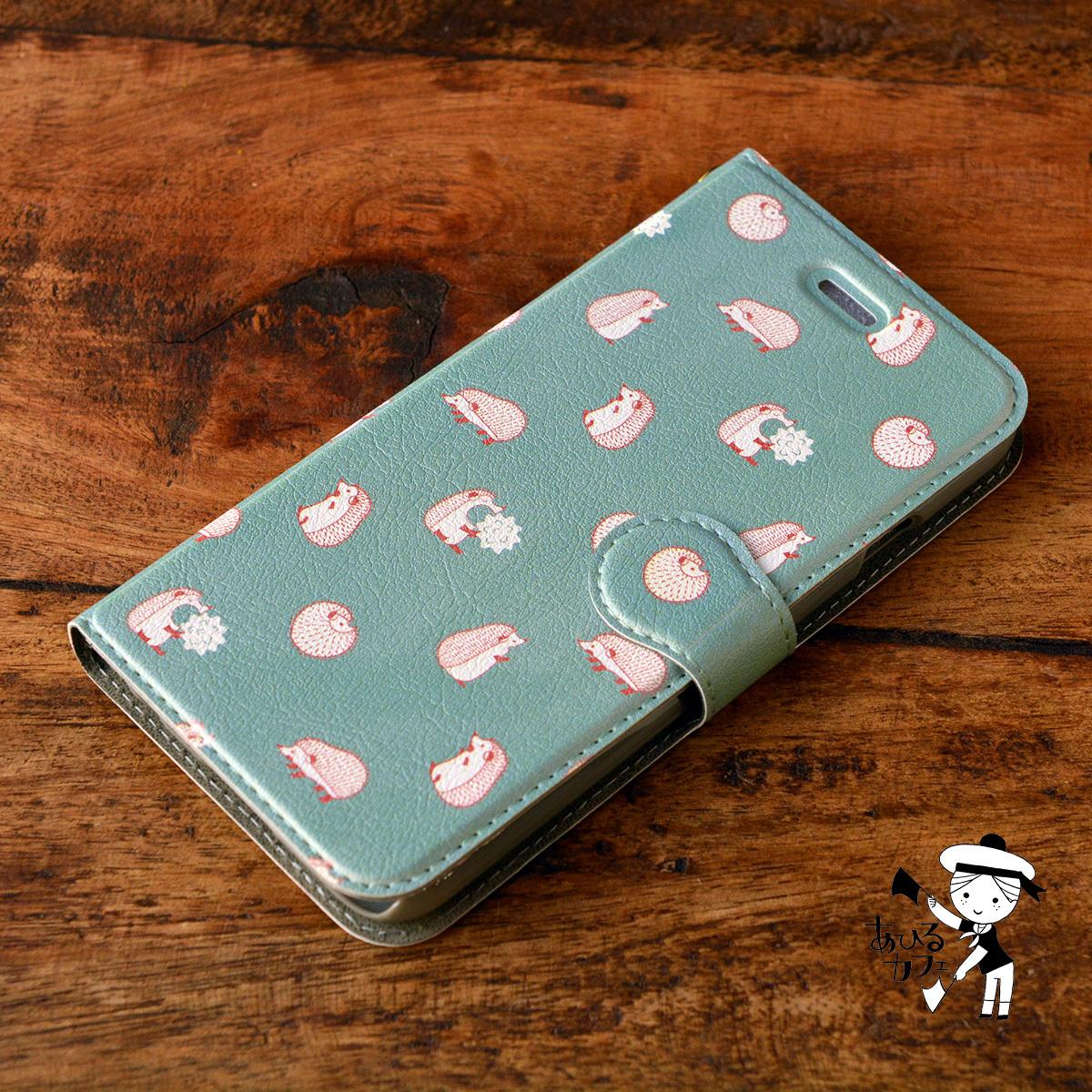 【訳あり】アイフォン6s ケース 手帳型 かわいい iphone6s ケース 手帳 大人かわいい iphone6s ケース 手帳 シンプル かわいい はりねずみ ハリネズミ/あひるカフェ【tn-iph6t-08102-B2】