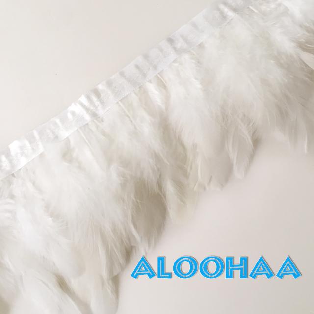 フェザーロール【ホワイト】7-12cm丈 1m DIY 羽 衣装材料 タヒチアン