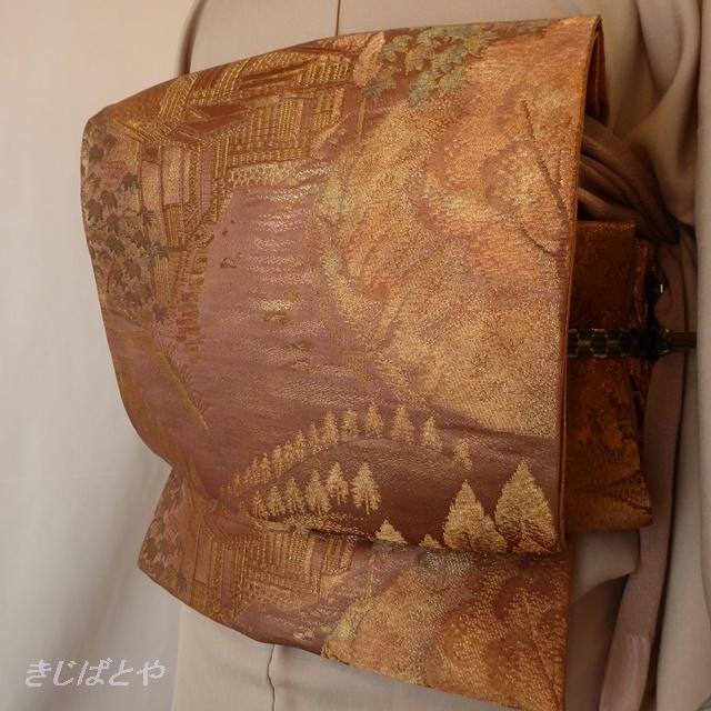 正絹 紅鳶色の袋帯