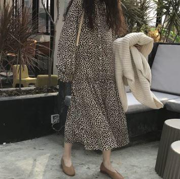 ワンピースドレス レオパード柄 ヒョウ柄 長袖 ワンピース ゆったりシルエット Aライン レトロ ロング 大人可愛い