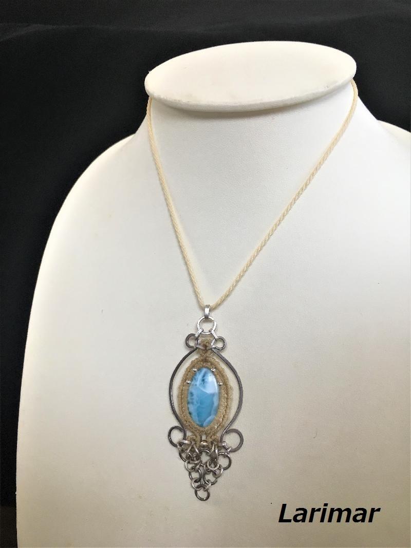 Larimar silver pendant