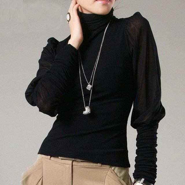 くしゅくしゅ袖口&シースルー ◆ タートルネック トップス 2色