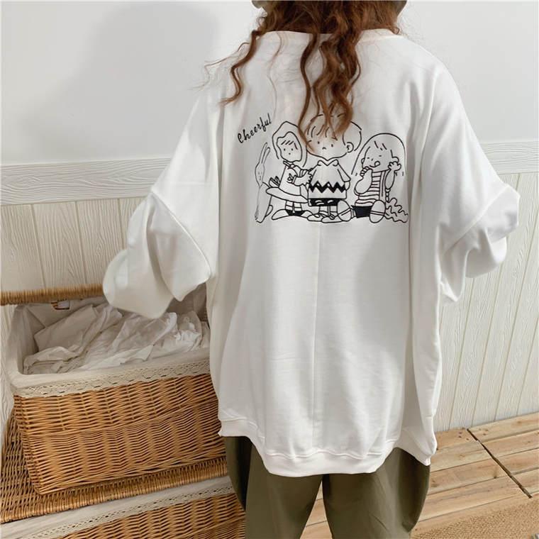 【送料無料】 春っぽカラー♡ ゆるだぼ メンズライク ビッグシルエット バックプリント ロゴ プルオーバー トップス