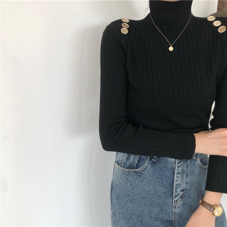 ショルダーボタンハイネックニットセーター【shoulder  button high neck knit sweater】
