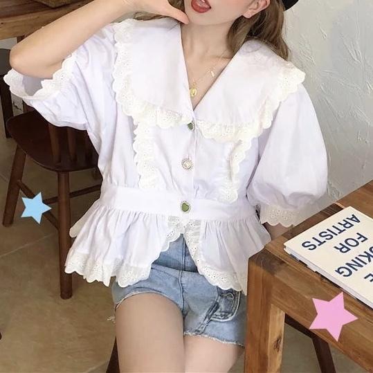 【即納/送料無料】ホワイトフリルレトロボタンシャツ