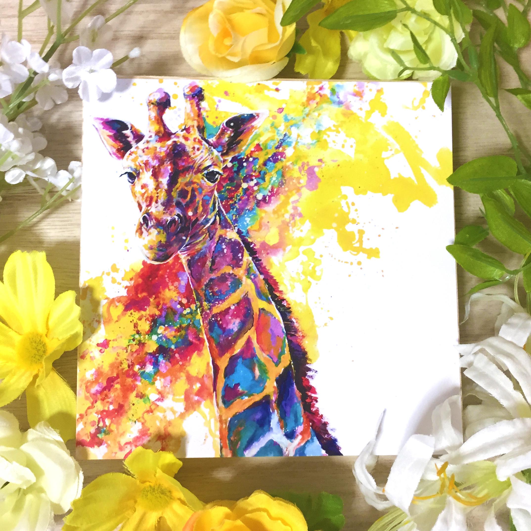 絵画 インテリア アートパネル 雑貨 壁掛け 置物 おしゃれ 水彩画 キリン 動物 ロココロ 画家 : 平田幸大 作品 : 本心の日差し
