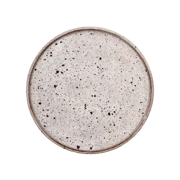 若狹祐介 フチタチ皿18cm 白砂