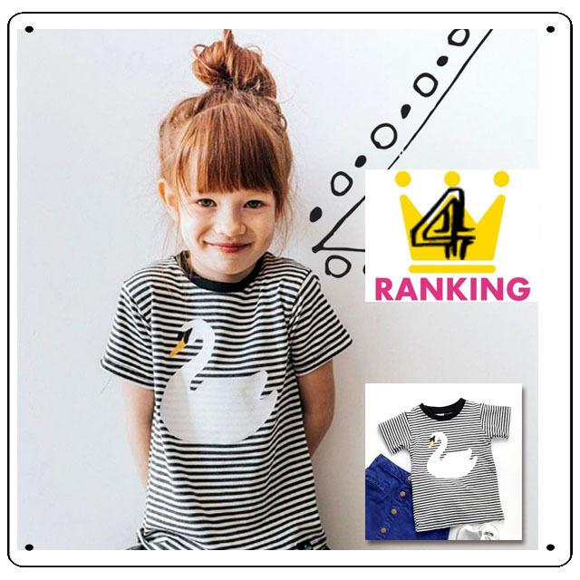 特別価格【TO18】白鳥のプリント付きボーダーTシャツ