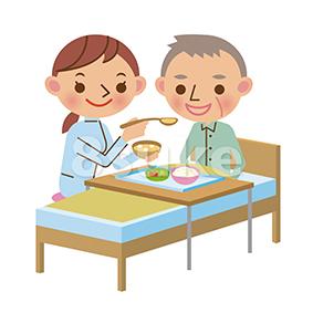 イラスト素材:老人の食事介助をする介護士の女性(ベクター・JPG)