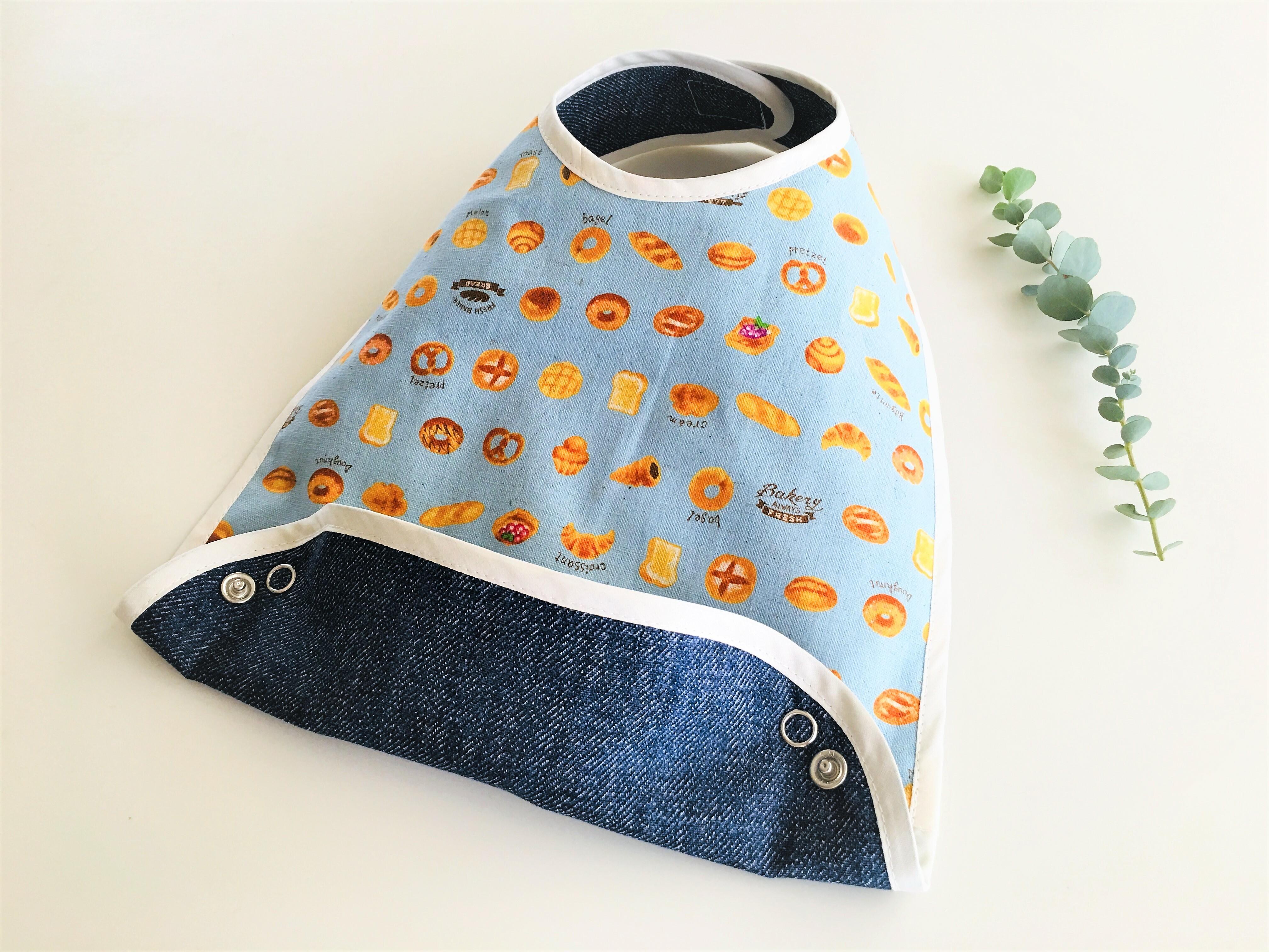 布製お食事スタイ 麻のブレッド柄リバーシブル