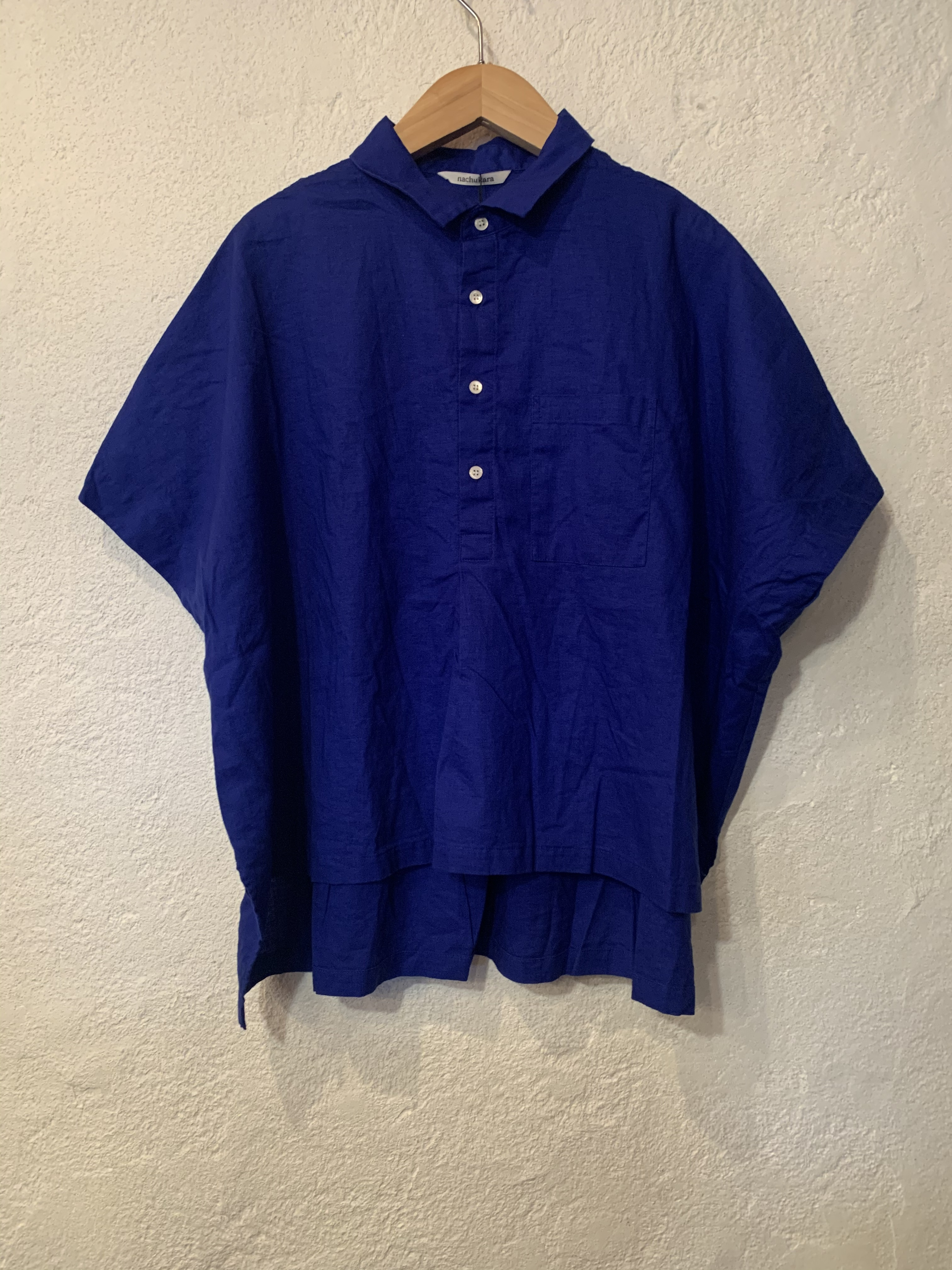 nachukara/5分袖プルオーバーブラウス  ブルー