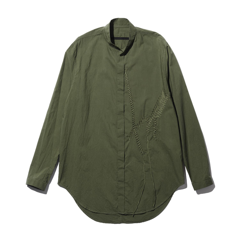 737SHM5-GREEN / 刺繍 スタンドカラーシャツ
