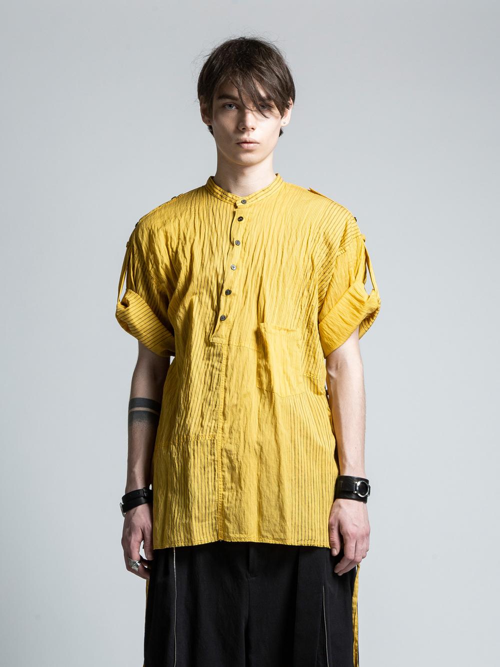 VI-3049-02 / ランダムストライプ ロールアップ半袖シャツ