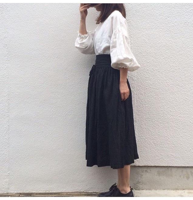 je suis リボンギャザースカート ブラック
