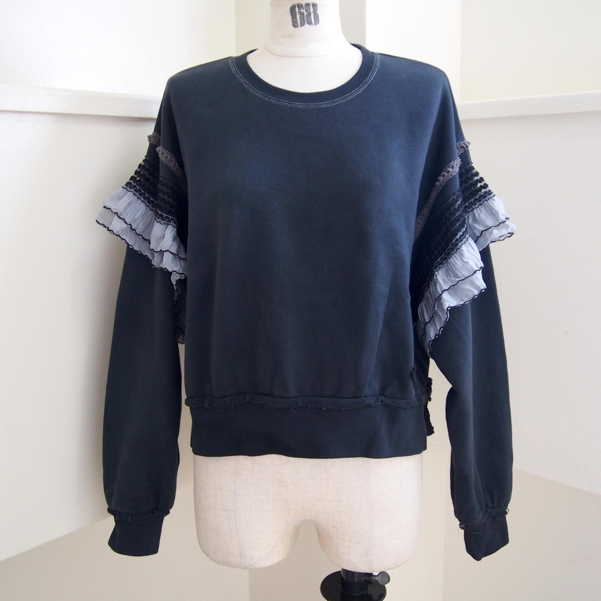 【RehersalL】 pleats shoulder pullover (sumi black) /【リハーズオール】プリーツショルダープルオーバー(スミブラック)