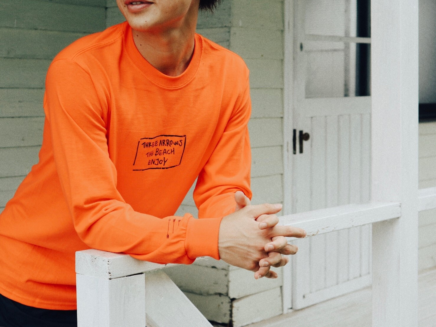 【11/2 21:00 再入荷】THREEARROWS BOX LOGO L/S TEE(orange)