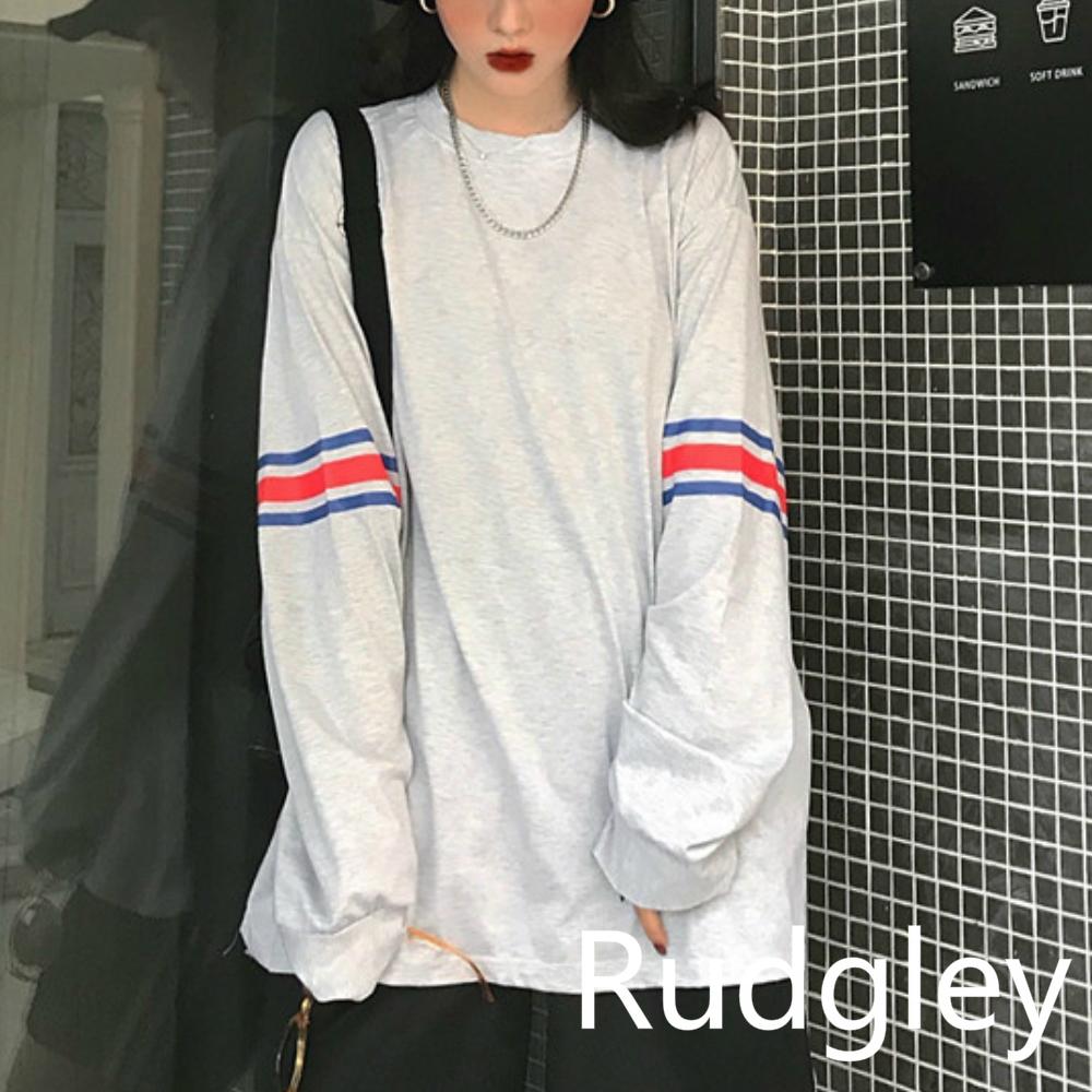 カジュアル ヒットカラーストライププリント長袖Tシャツ