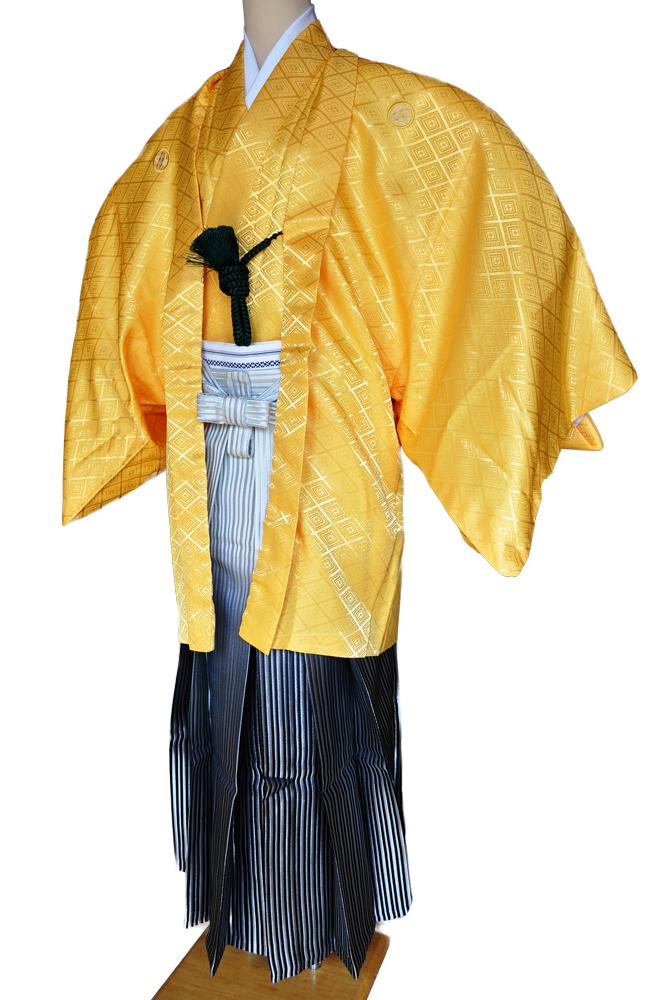 レンタル男性用【紋付袴】黄色着物羽織と白銀ぼかしの袴フルセットyellow1[往復送料無料] - 画像2