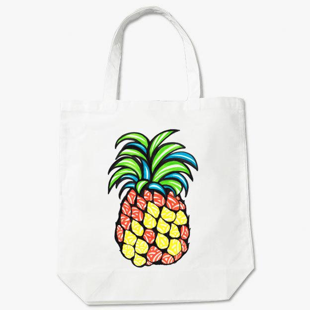 ◆トートバッグ 36cm×37cm マチ付◆ pineapple(パイナップル) シロ