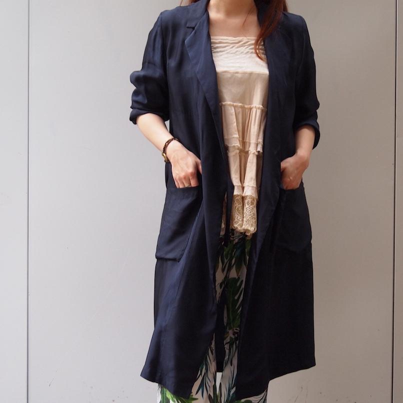 【hippiness】cupro coat(245/navy)/【ヒッピネス】キュプラ コート(ネービー)