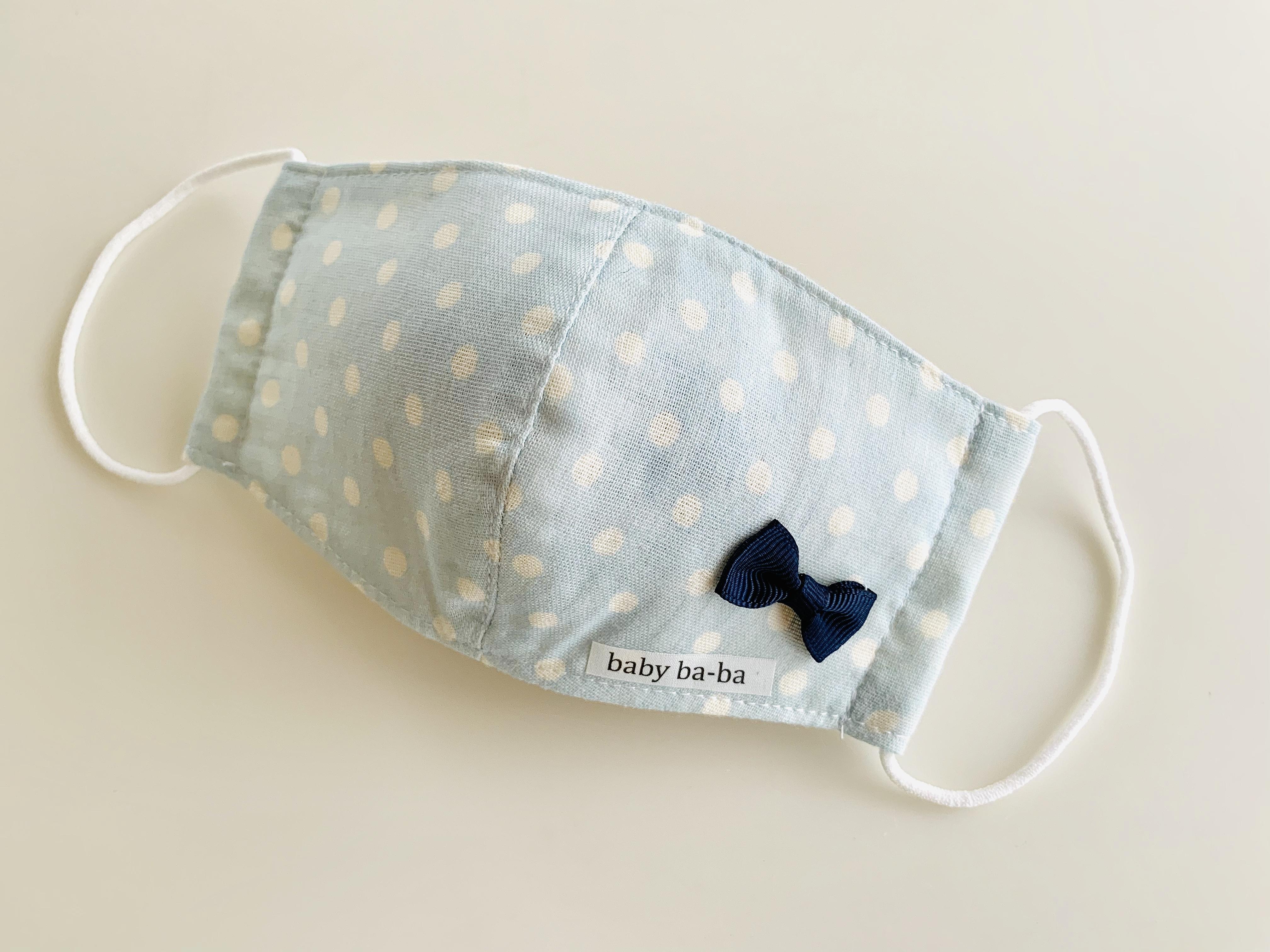 立体マスク 幼児サイズ(3歳~6歳)・水色リボン