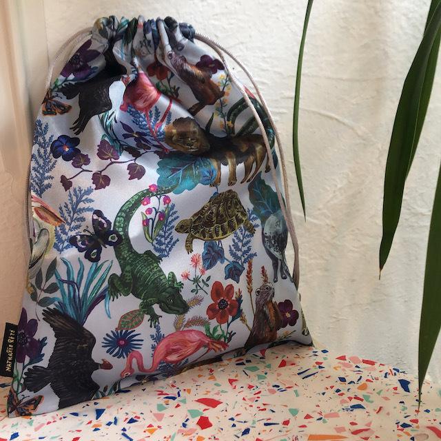 Nathalie Lete Satin drawstring pouch Jungle ナタリーレテ サテンポーチ ジャングル
