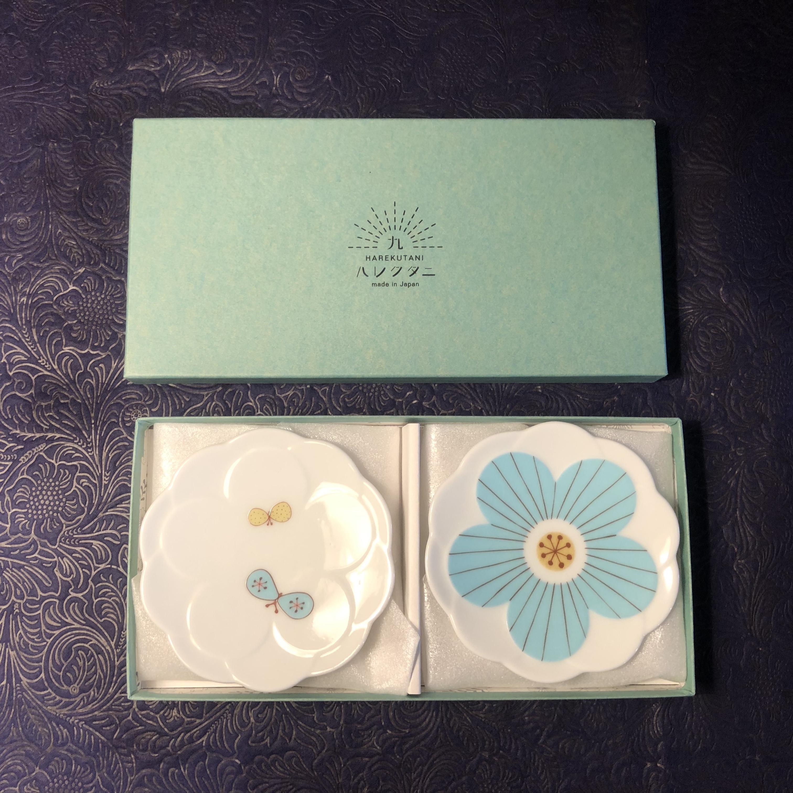 ハレクタニ 花小皿ブルー柄違い2個セット
