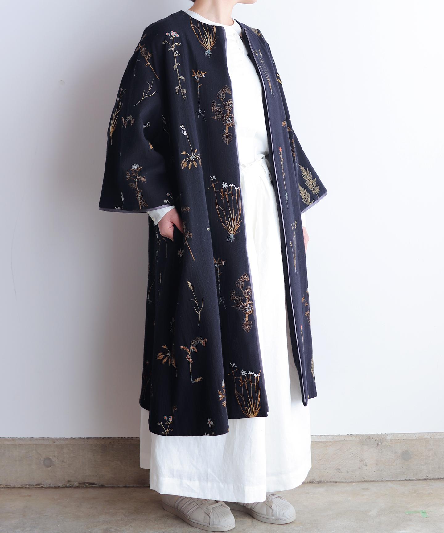 ボタニカル刺繍コート  (evi505 )
