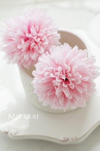 浴衣や和装に!大きめでフワフワなマム(菊)髪飾り2本セット【ピンク】 [HP04]