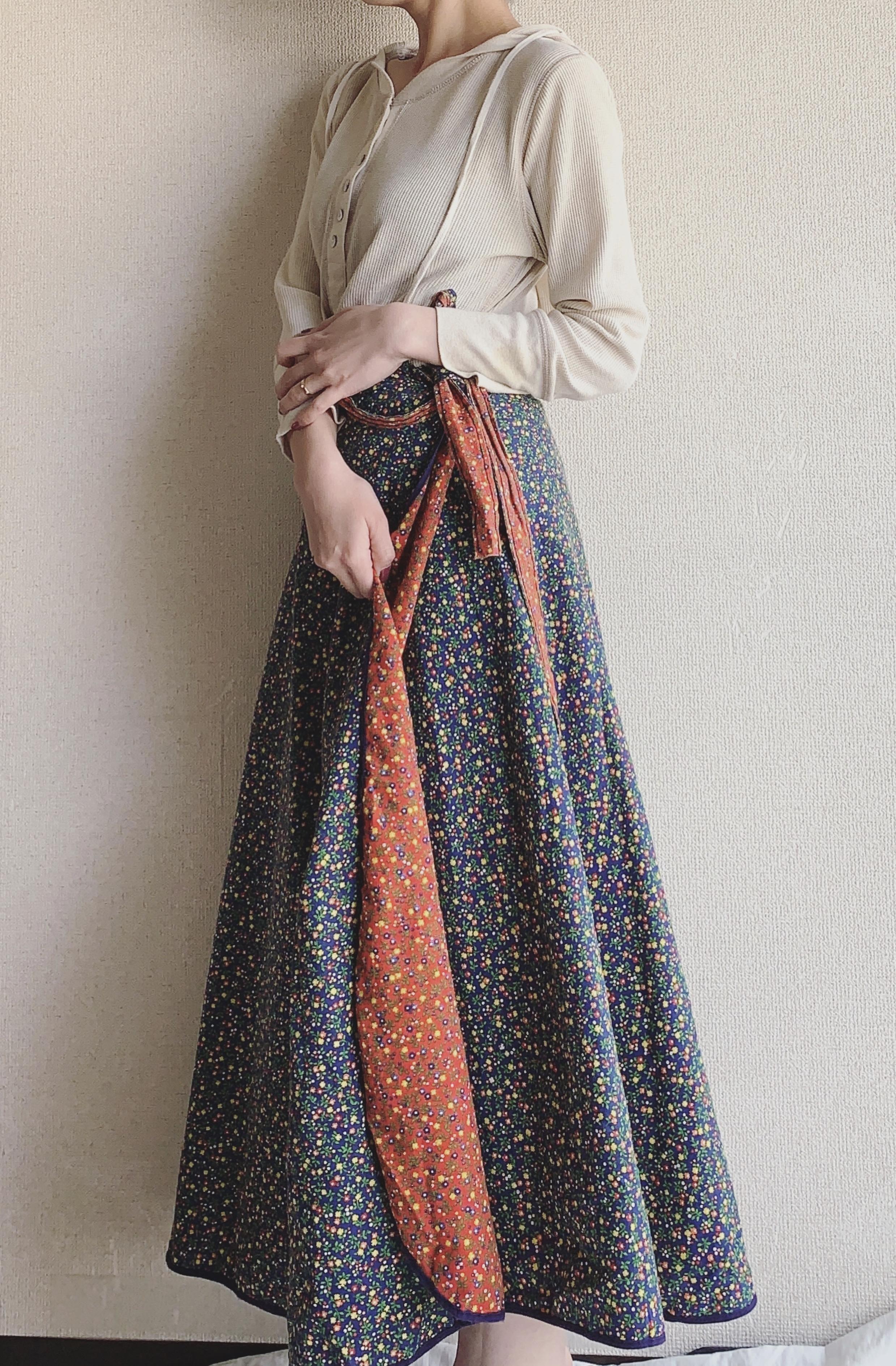 vintage reversible wrap‐around skirt