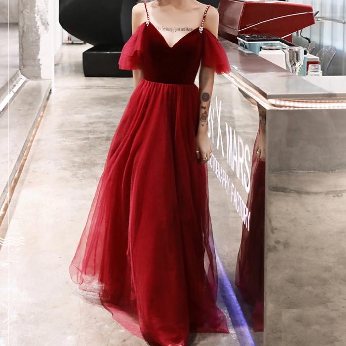 キャミ フリル チュール ロングドレス