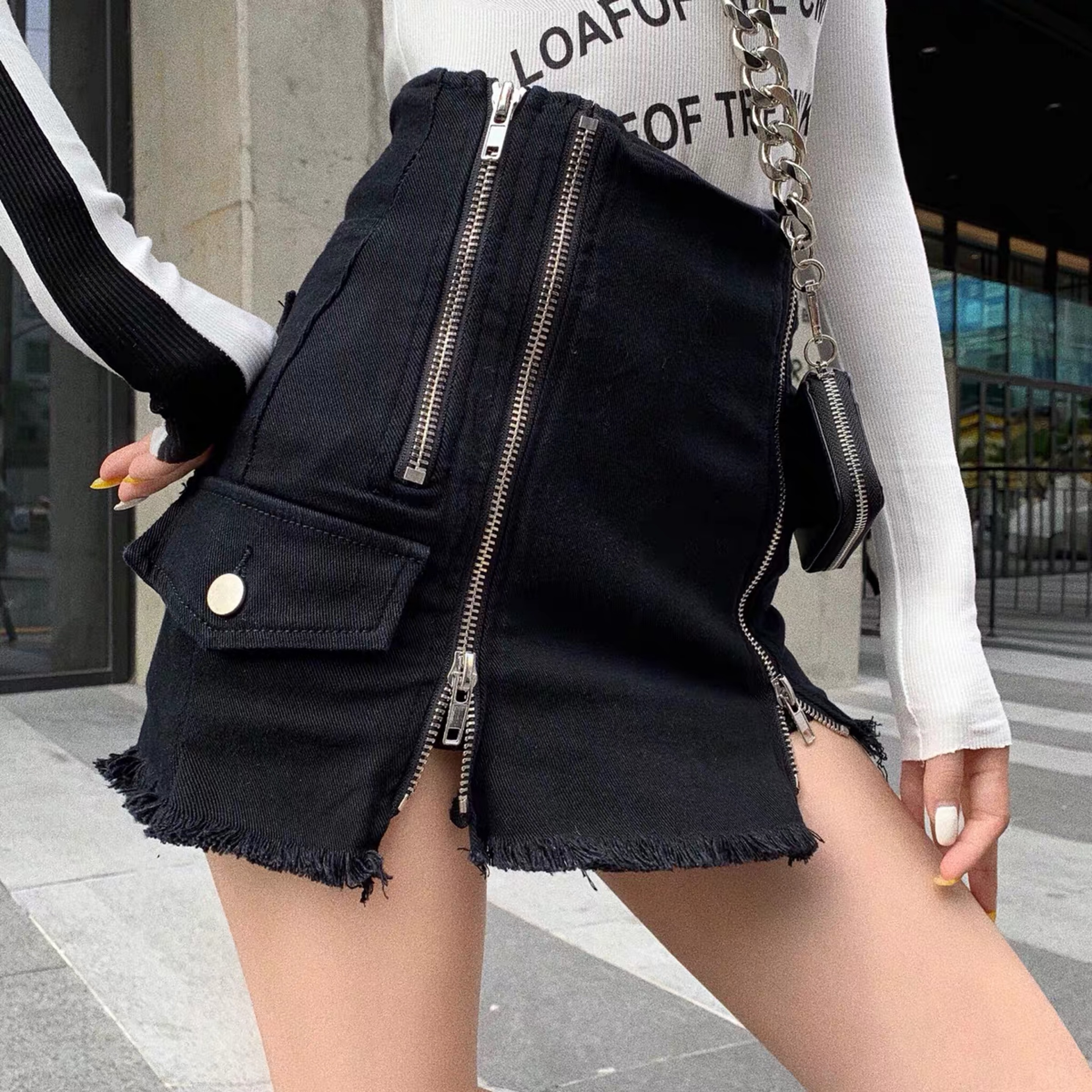 side pocket zipper skirt
